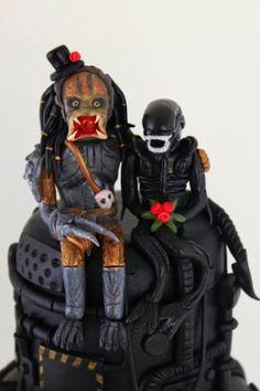Alien Loves Predator Wedding Cake topper close