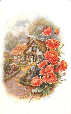 коттедж с леди в дверях, самшита граничит путь, оранжевый / красный мамы граничат право