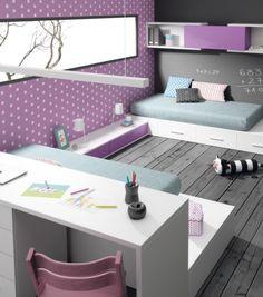 dormitorio juvenil para 2, detalle de la zona de estudio www.moblestatat.com horta guinardó barcelona