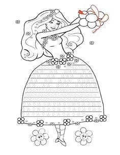 Fisa cu Grafisme cu Zana Primavara - Decorati rochita Zanei Primavara   Fise de lucru - gradinita