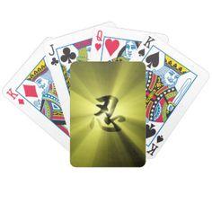 Nin Kanji Gold Star Burst Playing Cards