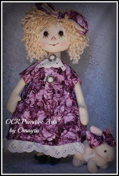 Raggedy Annie Doll Violet Spring Bunny ooak by by OCRPrimitiveArts, $58.00