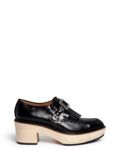 Buckle tassel wooden heel loafers
