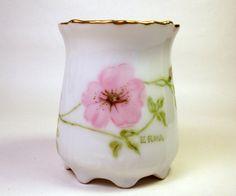 Vintage Toothpick Holder / Porcelain / China / Hand Painted Signed / Rugosa Wild Rose
