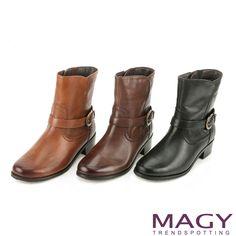 $3280-MAGY 街頭率性簡約 牛皮騎士皮帶釦環短靴-黑色 - Yahoo!奇摩購物中心(棕缺55/75)