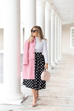 Browse the inviting list of the latest fashion trend for Spring 2020 and pick your best-loved one or two to update your closet staples for the upcoming season. Pattern Mixing Outfits, Polka Dot Shirt, Polka Dots, Polka Dot Outfit, Girly, Latest Outfits, Fashion Outfits, Work Attire, Alternative Fashion
