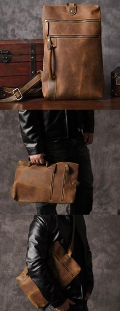 Leather sling bag for men, made from full grain leather, can be carried on shoulder or in hand.