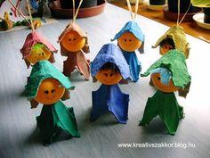 Manócskák tojástartóból - KREATÍV SZAKKÖR Bee Crafts, Craft Stick Crafts, Paper Crafts, Crate Crafts, Recycled Crafts, Diy For Kids, Crafts For Kids, Arts And Crafts, Egg Crates