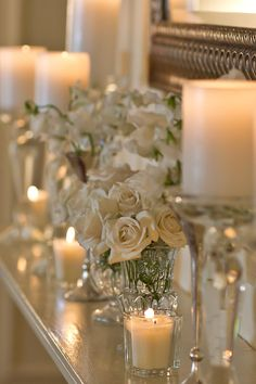 See more about white roses, white candles and white flowers. Wedding Decorations, Christmas Decorations, Table Decorations, Shabby Chic, Vibeke Design, Deco Floral, White Candles, Silver Candles, Romantic Candles