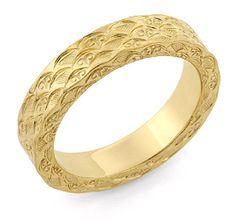 Hand Carved Designer Wedding Band, 14K Gold Jewelry $575.00