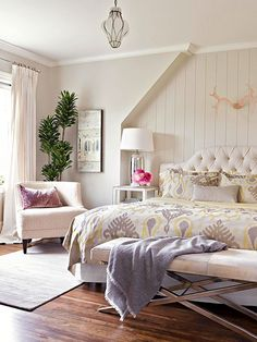 Soothing bedroom in lilac and cream.with the exception of the pink antlers. They don't seem to fit the room, and look a bit lost on that large wall. Pretty Bedroom, Cozy Bedroom, Dream Bedroom, Tranquil Bedroom, Feminine Bedroom, White Bedroom, Bedroom Decorating Tips, Decorating Ideas, Decor Ideas
