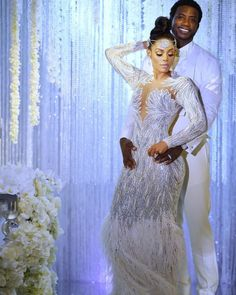 FABULOUS is the only way to describe this Bridal Styles bride's wedding day! Keyshia Ka'Oir wed Gucci Mane in a celebration so sparkly were blinded by the glam! Celebrity Wedding Dresses, Dream Wedding Dresses, Celebrity Weddings, Bridal Dresses, Wedding Outfits, Party Dresses, Making A Wedding Dress, V Neck Wedding Dress, Gucci Mane Wedding
