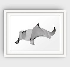 Rhino Art Print Abstract Animal Print Modern by GalliniDesign