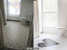 A bathroom remodel Before and after