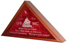 Engraved Service Emblem Flag Cases are exquisitely crafted in your choice of solid oak, walnut, cherry, or mahogany.  The double-strength glass front of the flag case is Laser Engraved with your choice of Service Emblem; Air Force, Army, Coast Guard, marine Corps, or Navy.  The back panel of your flag display case is layered with crushed velvet, making this the preeminent flag display case available anywhere today.