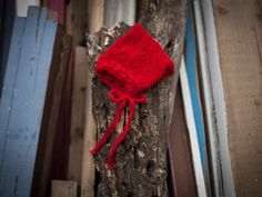 Red newborn baby mohair bonnet baby knit by GabriCollection