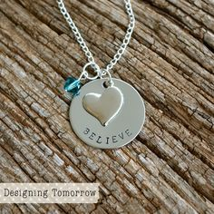 Believe Necklace - STAINLESS STEEL PENDANT - Believe with Heart Charm and Bead
