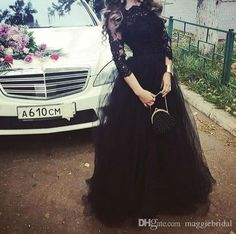Elie Saab Black Modest Evening Dresses With Long Sleeves 2015 Tulle Appliqued Floor Length Celebrity Formal Dress