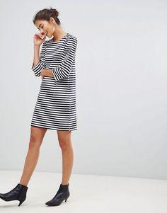 8e09081f91dc3 New Look 3 4 Puff Sleeve Stripe Tunic