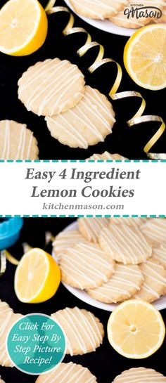These CRAZY 4 Ingredient lemon cookies will blow your mind how easy they are to make!