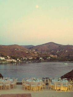 Moon, Summer Wedding, Tables, Round, Sea View, Landscape, Nature, Lights, Candles, Kea Island