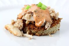 Fried Green Tomatoes with Crab and Remoulade Sauce