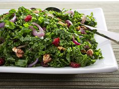 This cranberries, walnuts and kale ribbons recipe makes a colorful, beautiful and healthy side for holiday meals. Brown sugar and cider lend a light sweetness.
