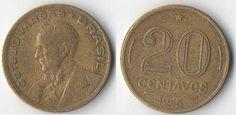 Cruzeiro brasileiro (1942-1967) (x) 20 centavos (1942-1948) O: efígie de Getúlio…