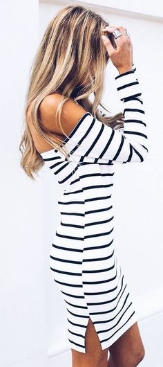 #summer #outfits / off the shoulder striped dress