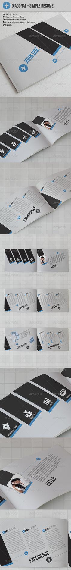 Diagonal - Resume or CV - GraphicRiver Item for Sale