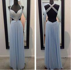 Bg476 Charming Prom Dress,Blue Prom Dress,Chiffon Prom Dress,Beading