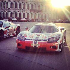 Sun setting over the Gumball 3000 cars #Koenigsegg