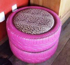 Great for outside chairs, just two tires, spray paint, and some cushions!