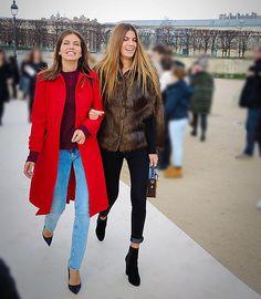 """Yeah, I'd be smiling, too - if I were on my way to the @maisonvalentino défilé.  @d_zhukova @1bianca_brandolini photographed by @mademoiselleprive #pfw…"""