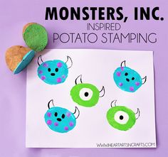 Who doesn't love Mike and Sulley from Monsters, Inc. I know we do! Today I have a super easy and fun craft to use up those old potatoes and make some adorable monster art! Monsters, Inc. Inspired Potato Stamps Kids Craft This post contains affiliate links. Please see mydisclosure policy. Materials you'll need: Advertise with …
