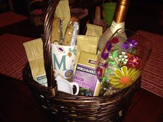 Coffee and Wine birthday basket for my mother-in-law to be