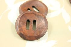 Wood Buttons - Classy Oval Holes Concave Center Red Brown Wooden Buttons, 1.38 inch (10 in a set) on Etsy, $7.00