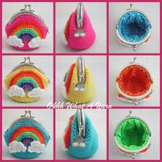 5. Crochet rainbow coin purse, rainbow charm,kiss clasp, polka dot fabric lining, rainbow and clouds applique