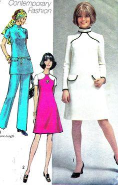 1970s Dress Pattern Simplicity 9010 Mod Dress Tunic by paneenjerez, $9.00