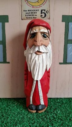 Christmas Santa with Long Coat and White Trim created and carved by…