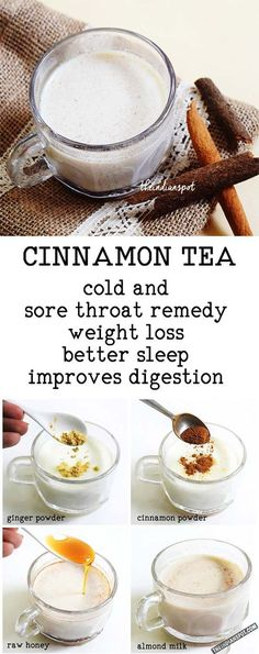TEA - 1 cup almond milk (you can also use coconut milk or regular cow m., CINNAMON TEA - 1 cup almond milk (you can also use coconut milk or regular cow m., CINNAMON TEA - 1 cup almond milk (you can also use coconut milk or regular cow m. Yummy Drinks, Healthy Drinks, Healthy Snacks, Healthy Eating, Healthy Recipes, Hot Tea Recipes, Healthy Tea Ideas, Vegan Tea Recipes, Tea Snacks