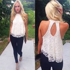 Sexy Women Summer Casual Sleeveless Shirt Lace Loose Vest Top Blouses Tank Tops S-XL Size White Pink Blue Blusas from ZeaL stylE. Saved to my style. Lace Halter Top, Halter Neck, Lace Tank, Floral Tops, Lace Vest, Lace Outfit, Loose Shirts, Look Chic, Summer Tops