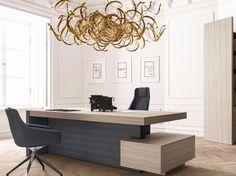JERA | Mesa de escritório com gavetas Mesa de escritório retangular com gavetas com prateleiras by Las Mobili