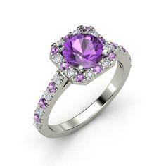 The Adele Ring customizable amethyst diamond platinum ring