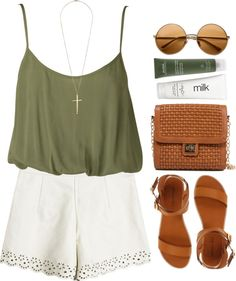 Olive green tank + white eyelet shorts + tan leather accessories.