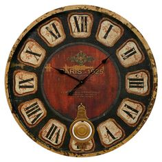 Weathered wood wall clock with a pendulum accent and Roman numeral dial.  Product: Wall clockConstruction Material: W...