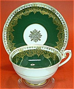 Shelley Cup and Saucer Green Gold Filagree England