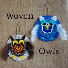 I thought I would feature some textile work this week.first up these woven owls. I& been trying to come up with projects that incorporate circular weaving. You may have tried my woven eye projec Weaving Textiles, Weaving Art, Owl Crafts, Yarn Crafts, Fun Crafts For Kids, Arts And Crafts, Classe D'art, Circular Weaving, Weaving For Kids