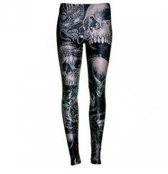 Attitude Clothing - Alternative, Gothic, Punk, Rock Clothing, Shoes, Brands + Accessories - Disturbia Skulls Leggings