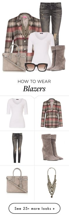 """Plaid Blazer"" by lchar on Polyvore featuring Basler, R13, Yves Saint Laurent and Ettika"